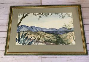 Vtg Arizona Desert Landscape Painting Watercolor Virginia Wright-Frierson 1977