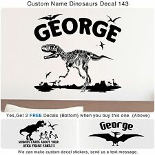 Custom Dinosaur Bone Name Stick Figure Family T-Rex Eats Sticker Wall Decal 143