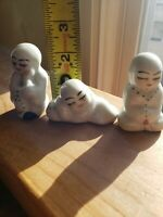 3 Vintage Painted White Porcelain Asian Figurines Small no chips crks unmarked