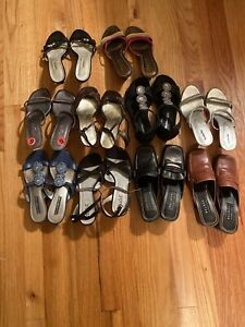 Lot Of Size 6 Women's Dress Shoes Sandals Loafers 10 Pair.