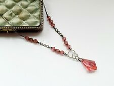 """Vintage 16.5"""" Czech Pink Glass Faceted Bead Necklace"""
