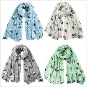 Womens Cute Panda Pattern Print Scarf Ladies Wrap Long  Shawl Christmas Gift
