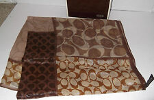 "Coach Signature Scarf In BROWN-27""X27""  NYLON & SILK"