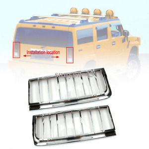 2003-2009 HUMMER H2 SUV Silver ABS Chrome Rear Tail Light Lamp Cover Trim 2pcs