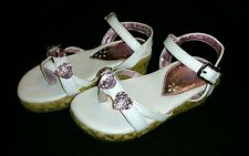 Girls toddler white pink Dominique Nicole sandals shoes size 7 EUC!!