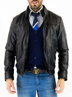 ★Giacca Giubbotto Uomo in di PELLE 100% Men Leather Jacket Veste Homme Cuir ze3f