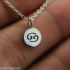 CANCER NECKLACE - 925 Sterling Silver - Tiny Horoscope Zodiac Charm Jewelry NEW*