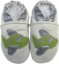 carozoo airplane cream 6-12m new soft sole leather baby shoes