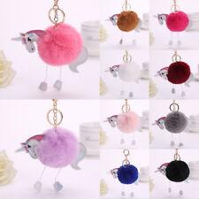 Keyring Unicorn Faux Fluffy Rabbit Fur Handbag Pendant Charm PomPom Keychain