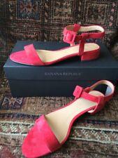 NIB Banana Republic Low Heel Size 8 Sandal Suede Cherry Red In Box