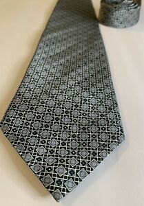 """Stafford Made In Italy 100% Silk 59"""" Blue Silver Geometric NWOT Power Neck Tie"""