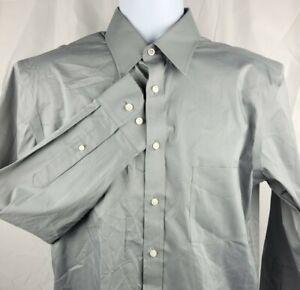 Stafford Travel Mens L/S Button Dress Shirt Gray 15.5/32-33 Comfort Stretch EUC