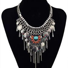 Vintage Style Necklace Coin Silver Hippie Boho Tribal Belly Dance Bohemian