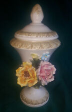 Vntg. Antique Capodimonte Large Covered URN Rose Flower Vase Made in Italy 11.5""