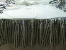 "Waverly Twin Bedskirt Ruffle Pleated 2 Split Corners Striped White Blue 16"" drop"