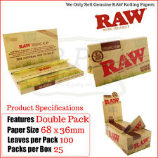 Raw Double Packet Organic Single Wide Hemp Rolling Papers - One Full New Box