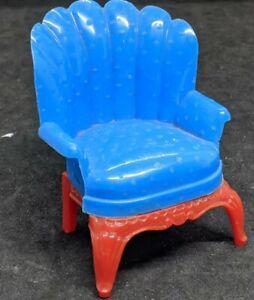RENWAL: Blue Arm Chair  red legs. Dollhouse FURNITURE , Plastic USA Vintage