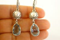 White Mabe Pearl Blue Topaz 2-Stone 925 Sterling Silver Dangle Earrings