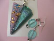 FIONA STUDIO  gold luster dichroic Fused glass Pendant Earring Turquoise Mauve