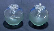 Pair of Round Glass Oil Lamps, Top Half Clear, Bottom Half Frosted, Empty No Oil