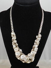 Fossil Brand Silvertone Clear Crystal Rivoli Cluster Statement Necklace JA3703