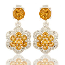 Citrine Gemstone Flower Design Engagement Drop Earrings 925 Silver Jewelry