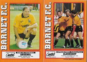 BARNET HOME PROGRAMMES SEASON  1991 - 1992
