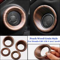 4 Pc Peach Wood Grain Door Speaker Panel Cover Fit For Honda CRV CR-V 2017/2018