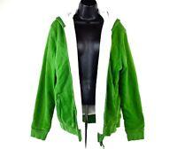 LL Bean Womens XL Faux Fur Lined Green Full Zip Hoodie Hooded Sweatshirt Jacket
