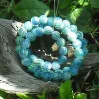 105 Perles Oeil de chat 8 mm imprimée rayure Bleu vert