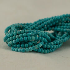 """Grade A Turquoise (dyed) Semi-Precious Gemstone Round Beads - 2mm - 15.5"""""""