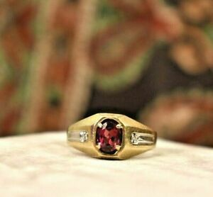 Luxurious Men's Engagement Fancy Solitaire Ring 14K Yellow Gold Over 2.1 Ct Ruby