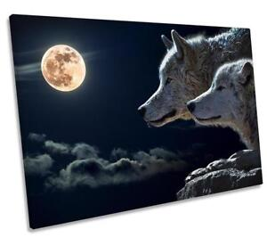 Wolf Moon CANVAS WALL ART DECO LARGE READY TO HANG NIGHT all sizes