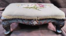 New listing Antique Old French Hand Carved Wood Footstool Foot Stool Needlepoint Floral