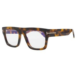 Tom Ford 5634-B 056 Brown Tortoise Men's Eyeglasses 53-20-145 Blue Block Lens