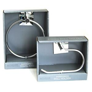 Bathroom Chrome Toilet Roll Holder and Towel Ring Set Mirrored FREE UK Postage