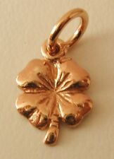 SOLID 9K 9ct ROSE Gold SHAMROCK 4 FOUR LEAF CLOVER GOOD LUCK Charm Pendant