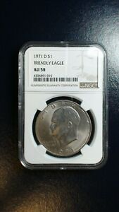 1971 D EISENHOWER Dollar NGC AU58 FRIENDLY EAGLE IKE $1 Coin Starts At 99 Cents!