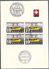 SVIZZERA QUARTINA USATA  Switzerland Old PTT folder Schweiz Automobil Post 1946