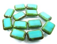 12 Czech Glass Rectangle Beads Turquoise - Picasso