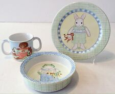Kelly Rightsell 3-Pc Child's Dish Set Cup Bowl Plate Monkey Frog Bunny Portugal