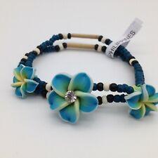 Blue Hawaiian PLUMERIA FLOWER BRACELET Rhinestone Fimo Coconut Beads Beach Surf