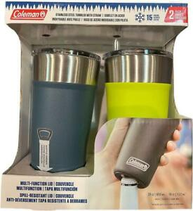 Coleman 20 Oz Tumblers & Straws 2 Pack Blue & Neon Green Bottle Opener Hot Cold