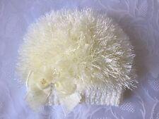 Hand Knitted Baby Girls Cream  Eyelash  Wool  Beanie Hat  0 - 3 months  'NEW'
