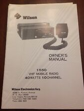 Wilson 1550 Vhf Mobile Radio 40W 10 Channel Owner's Manual