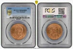 1943 NEW ZEALAND 1 PENNY PCGS MS 64 RB VIBRANT BEAUTY ONLY 2 GRADED HIGHER