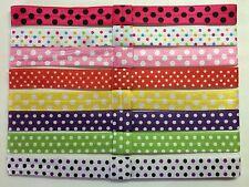 8 Pcs Wholesale Baby Girl Dot Printed Elastic Headbands.