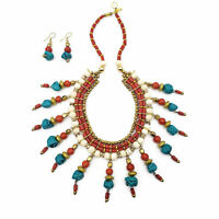 Fashion Tribal Gold Tone Bovine Bead Resin Bib Choker Necklace Runway Statement