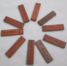 30 HANDMADE SIGN Wood Label Brown Ribbon Sewing Logo Tape Tag CLEARANCE