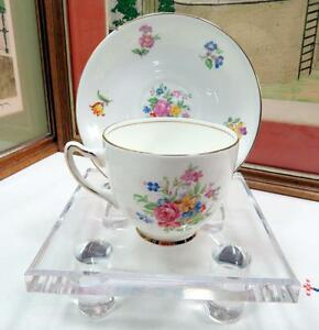 """ADDERLEY ENGLAND FLORAL AND GOLD RIM 2 5/8"""" FOOTED CUP AND SAUCER"""